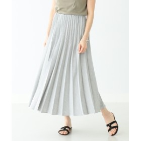 Demi-Luxe BEAMS / リネンライク プリーツスカート レディース マキシ・ロング丈スカート GREY 38