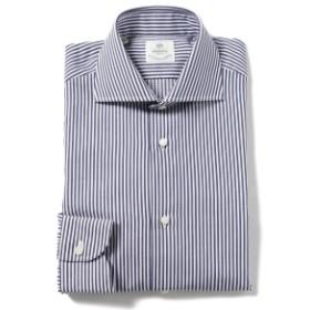 LUIGI BORRELLI / ACHILE ジャカードストライプ ワイドカラーシャツ◎ メンズ ドレスシャツ NAVY/71 42