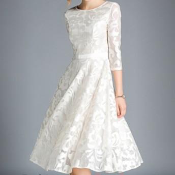 ドレス ワンピース 7分袖 ミディ丈 レース ラウンドネック オケージョン パーティ 二次會 結婚式 1797