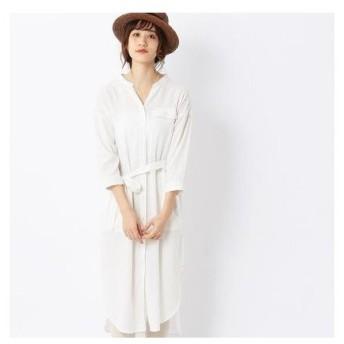 コムサイズム COMME CA ISM 〔ONIGIRI〕リネン混 ロングシャツ ガウンワンピース(ホワイト)