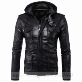 ライダースジャケット 革ジャン バイクジャケット ジャケット メンズ フード付き バイクウェア 防風 防寒