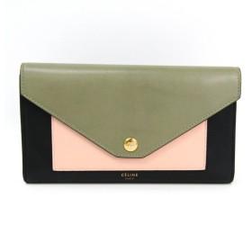 7e867d0b160c セリーヌ ポケット トリフォールド 105853 レディース カーフスキン 長財布(三つ折り) ブラック,