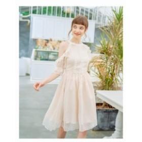 結婚式ドレスお呼ばれワンピースオフショルダー春夏20代30代ラウンドネックひざ丈袖ありシフォンAライン袖フリル上品