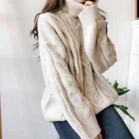 ケーブル編み レディース 長袖 セーター