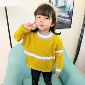 韓國子供服セーター女の子男の子女児男児ストライプ80/90/100/110/120cmシンプル著心地良いゆったり切り替え