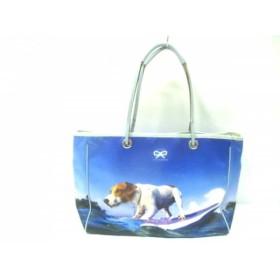 【中古】 アニヤハインドマーチ トートバッグ - ブルー マルチ 転写プリント/犬 サテン レザー