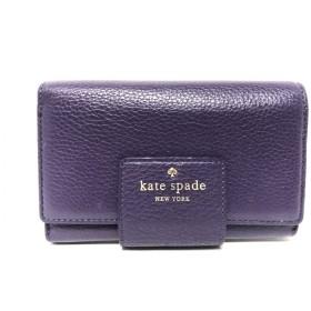 19d3bf7c5fbd 【中古】 ケイトスペード Kate spade 3つ折り財布 パープル ラウンドファスナー レザー
