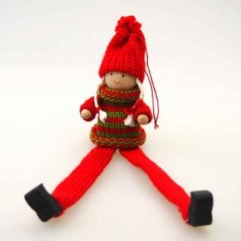 木製あしながおさげスノーガールオーナメント【クリスマス装飾/クリスマス雑貨】