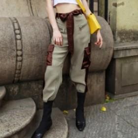 レディース カーゴパンツ カジュアルパンツ ハイウエスト ゴムウエス 七分丈 著痩せ トレンド 韓國ファッションX0039