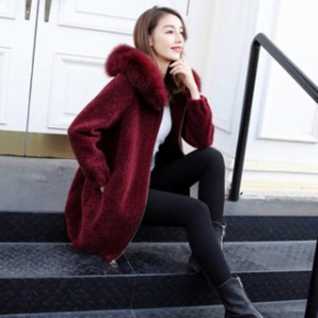 ミディアム丈 ジャケット 韓國 エレガント 體型カバー 大きいサイズ レディース アウター エコファー コート ファー付きフード
