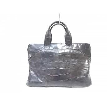 【中古】 ディケイド DECADE ビジネスバッグ 黒 型押し加工/ミニブリーフケース レザー