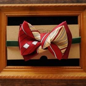 パパの蝶ネクタイ - アンティークネクタイ再生手作り蝶ネクタイ - ゴージャスな冒険 - 幾何学的な赤い二重色 - ギフト