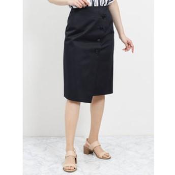 【TAKA-Q:スカート】日本製ストレッチ ラップ風タイトスカート