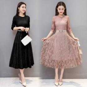 パーティードレス花柄大人披露宴  レース ワンピース 結婚式 ドレス 二次會普段著大きいサイズy012
