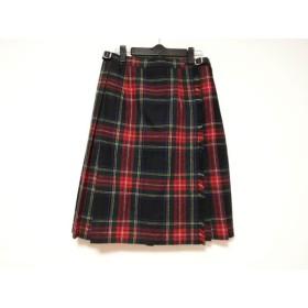 【中古】 オニール O'NEIL 巻きスカート サイズ38 M レディース 黒 レッド マルチ