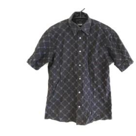 【中古】 バーバリーブラックレーベル Burberry Black Label 半袖シャツ サイズ2 M メンズ 黒 グレー