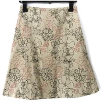 【中古】 ホコモモラ JOCOMOMOLA スカート サイズ42 L レディース 美品 ライトベージュ 刺繍/花柄