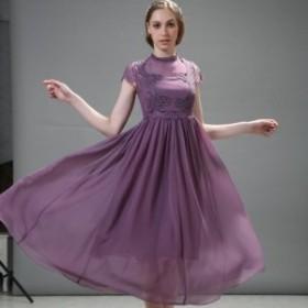 ロングドレス シフォン 半袖  レース シフォンスカート カラバリ2色 結婚式 二次会 お呼ばれ