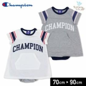 チャンピオン champion ベビー 赤ちゃん 子供服 半袖 ロンパースカバーオール  袖ライン 女の子 19夏 70 80 90cm
