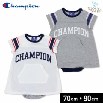 セール チャンピオン champion ベビー 赤ちゃん 子供服 半袖 ロンパースカバーオール 袖ライン 女の子 19夏 70 80 90cm