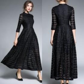 ロングドレス イブニングドレス パーティドレス 黒 シック