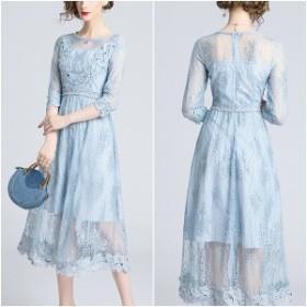ドレス ライン刺繍ワンピース 結婚式 二次会 お呼ばれ 清涼感 ライトブルー シアー レース 好印象