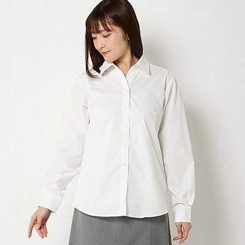 透けにくい形態安定スキッパーシャツ(レディース) オフホワイト