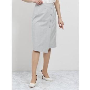 【TAKA-Q:スカート】日本製ストレッチ チェック柄ラップ風タイトスカート