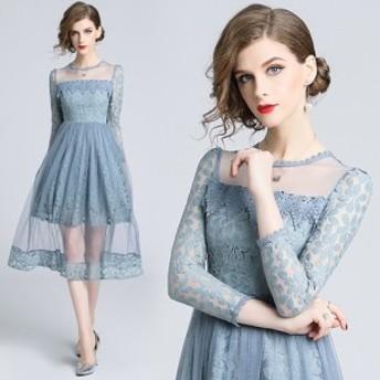 ドレス メッシュワンピース 結婚式 二次会 お呼ばれ ロマンティック ブルーグレー ディテール こだわり