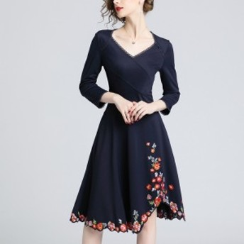 ドレス フレアスカート 長袖 花柄 刺繍 ミディ丈 お呼ばれ 二次会 パーティ