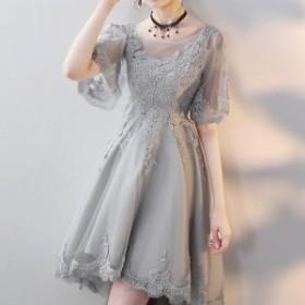 ドレス ワンピース 結婚式 二次会 お呼ばれ エレガント ホワイト  オーガンジー 透け感 バックスタイル 編み上げ バレリーナ