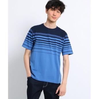 TAKEO KIKUCHI(タケオキクチ) パネル梨地ボーダーTシャツ