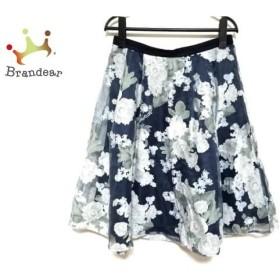 ジャスグリッティー スカート サイズ2 M レディース 美品 ネイビー×アイボリー×マルチ 花柄     スペシャル特価 20190803