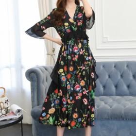 ドレス パーティドレス シフォンワンピース 黒 花柄