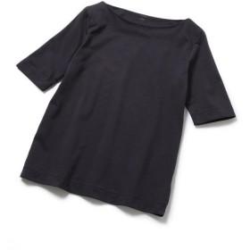 ROPE' / ロペ 【洗える】スビンコットン5分袖ボートネックTシャツ