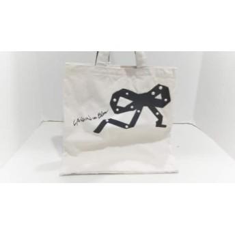 【中古】 ランバンオンブルー トートバッグ アイボリー 黒 リボン/フェイクパール キャンバス