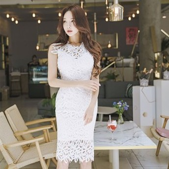 ドレス ワンピース ノースリーブ ホワイト 透け感 フェミニン 上品 クラシカル ひざ上丈 タイト