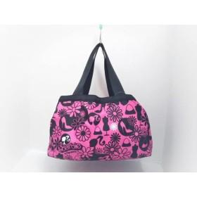 【中古】 レスポートサック LESPORTSAC ハンドバッグ 美品 ピンク 黒 白 Barbie/花柄 レスポナイロン