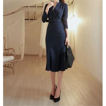 追加 限定発売 高品質で 正規品 韓国ファッション/おしゃれな/CHIC気質/減齢/OL/ハイウエスト/縫付/Vネック/ワンビース