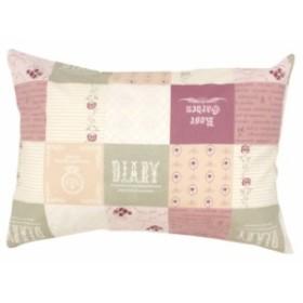 メリーナイト 綿100% パッチワーク柄の枕カバー 43×63cmまくら用 ピンク サックス カバー 枕 まくら まくらカバー
