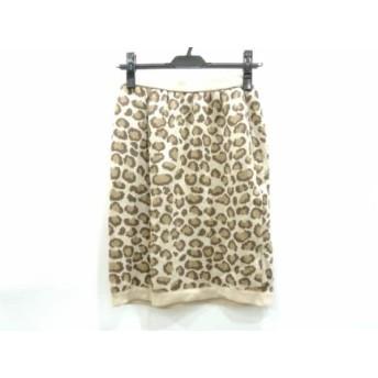 【中古】 フォクシー スカート サイズ40 M レディース ベージュ ダークブラウン マルチ ニット/豹柄