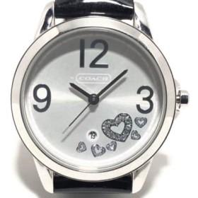 【中古】 コーチ COACH 腕時計 CA.13.7.14.0446 レディース 革ベルト/ハート/ラインストーン シルバー