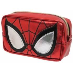 スパイダーマン 筆箱 メタリック スクエアポーチ マーベル 17×9×5cm キャラクター グッズ