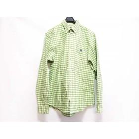 【中古】 バーバリーブラックレーベル 長袖シャツ サイズ3 L メンズ 美品 ライトグリーン 白 チェック柄