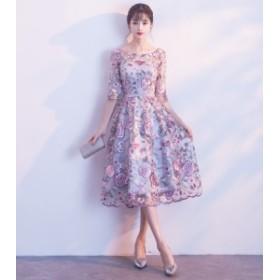 結婚式 お呼ばれ ドレス 20代 30代 40代 ワンピース 七分袖 ボートネック 花柄 フラワー スカラップ フレア 膝下 ミモレ丈 プチプラ