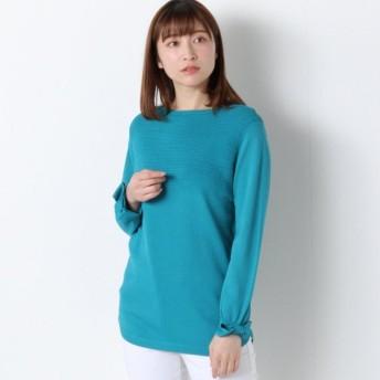 ニット セーター レディース 袖リボンデザインの裾ラウンドニット 「グリーン」