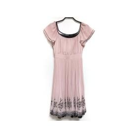 【中古】 レストローズ L'EST ROSE ワンピース サイズMT レディース ピンク 黒 プリーツ/刺繍