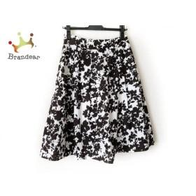 ニジュウサンク 23区 スカート サイズ38 M レディース ダークブラウン×白 花柄     スペシャル特価 20190801