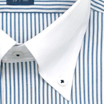 ワイシャツ - ワイシャツの山喜 LORDSON 半袖 ワイシャツ メンズ 夏 形態安定加工 ブルーストライプ クレリック ボタンダウンドレスシャツ綿:100%ブルー(zon511-455)