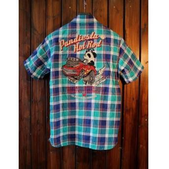 PANDIESTA JAPAN パンディエスタ 529212 刺繍チェックシャツ ホットロットカ— グリーン系
